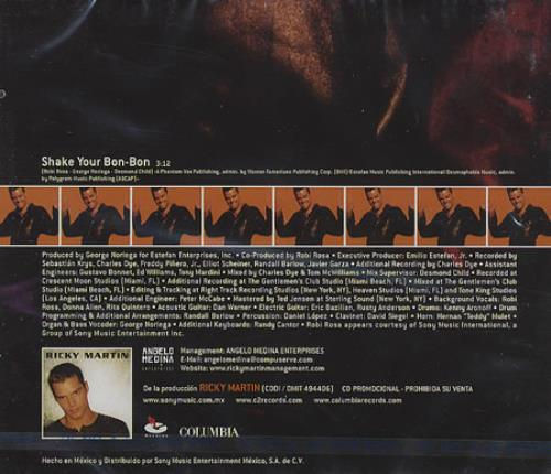 "Ricky Martin Shake Your Bon Bon CD single (CD5 / 5"") Mexican RKMC5SH154169"
