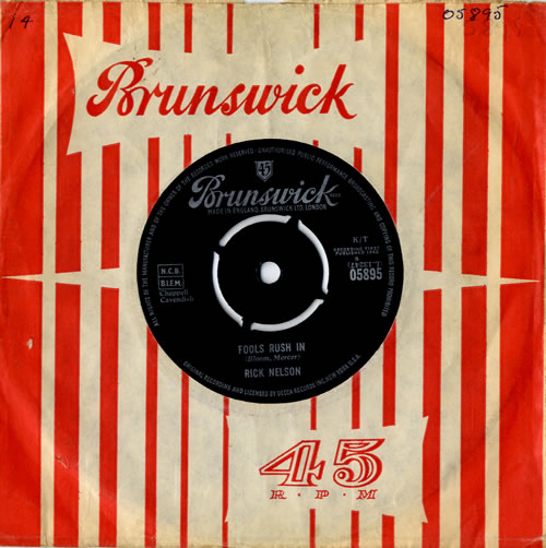 """Ricky Nelson Fools Rush In 7"""" vinyl single (7 inch record) UK R-N07FO559109"""