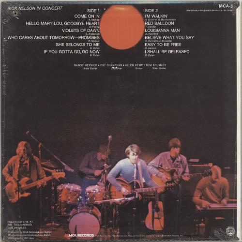 Ricky Nelson In Concert vinyl LP album (LP record) US R-NLPIN710260