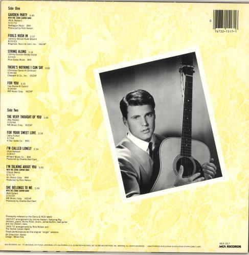 Ricky Nelson The Decca Years vinyl LP album (LP record) US R-NLPTH691939