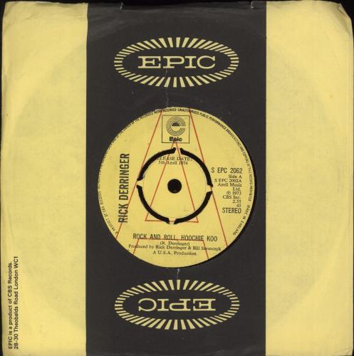 "Rick Derringer Rock And Roll, Hoochie Koo 7"" vinyl single (7 inch record) UK RDR07RO707730"