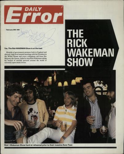 Rick Wakeman Daily Error - Autographed tour programme UK RKWTRDA650651