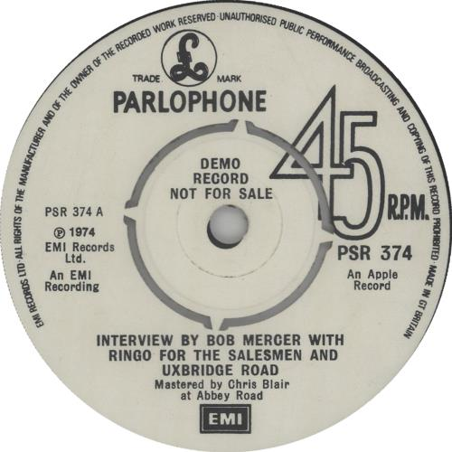 "Ringo Starr Interview By Bob Mercer With Ringo For The Salesmen And Uxbridge Road 7"" vinyl single (7 inch record) UK RIN07IN672388"