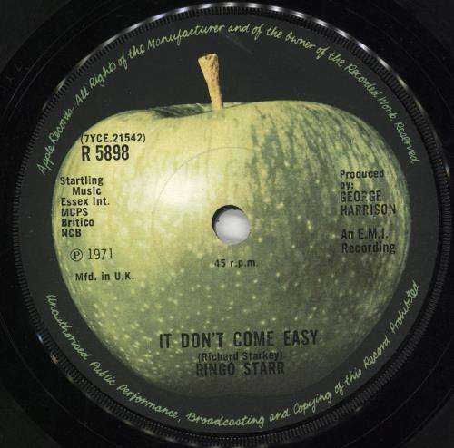 "Ringo Starr It Don't Come Easy - 1st - Solid - p/s - EX 7"" vinyl single (7 inch record) UK RIN07IT592328"