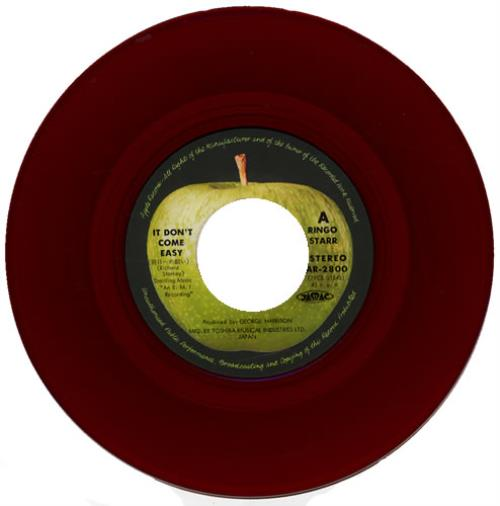 """Ringo Starr It Don't Come Easy - Red Vinyl 7"""" vinyl single (7 inch record) Japanese RIN07IT146855"""