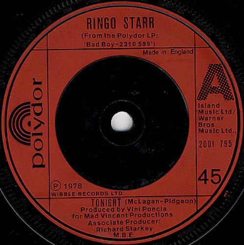 "Ringo Starr Tonight 7"" vinyl single (7 inch record) UK RIN07TO102936"