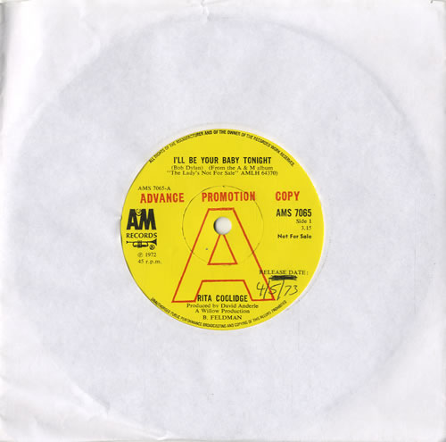 "Rita Coolidge I'll Be Your Baby Tonight - A Label 7"" vinyl single (7 inch record) UK RTC07IL597402"