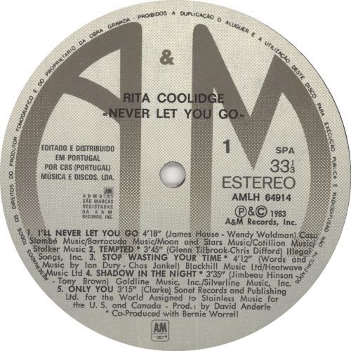 Rita Coolidge Never Let You Go vinyl LP album (LP record) Portugese RTCLPNE734515