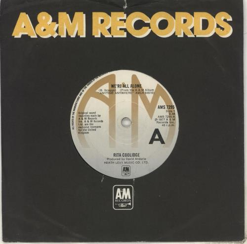 "Rita Coolidge We're All Alone 7"" vinyl single (7 inch record) UK RTC07WE502705"