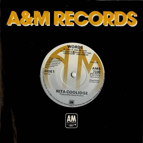 "Rita Coolidge Words 7"" vinyl single (7 inch record) UK RTC07WO573730"