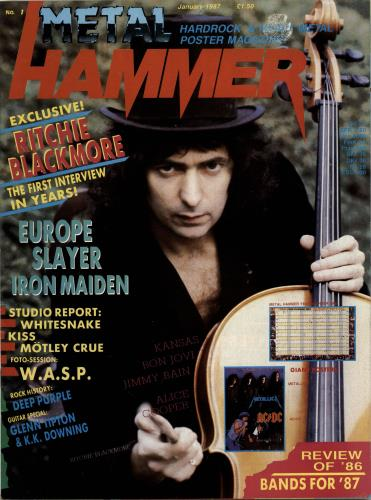 Ritchie Blackmore Metal Hammer - January 1987 magazine UK RBMMAME693765