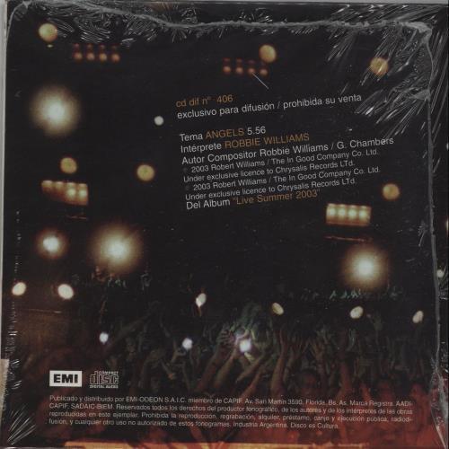 "Robbie Williams Angels CD single (CD5 / 5"") Argentinean RWIC5AN263367"