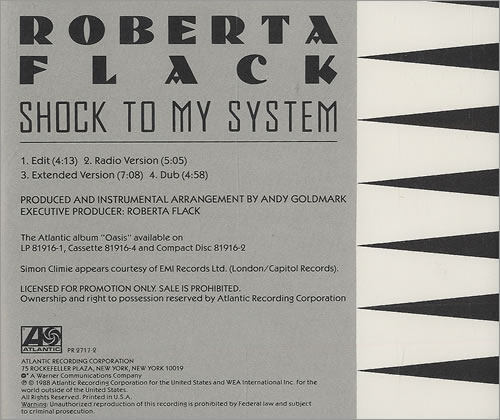 "Roberta Flack Shock To My System CD single (CD5 / 5"") US RFKC5SH425081"