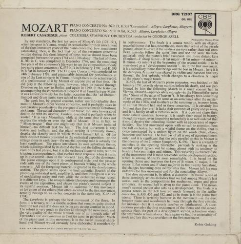 "Robert Casadesus Mozart: Piano Concerto No. 26 in D Major ""Coronation"" / Piano Concerto No. 27 in B-Flat Major vinyl LP album (LP record) UK X5BLPMO758368"