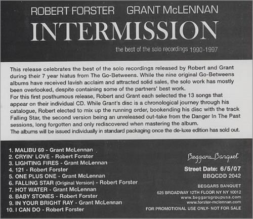 Robert Forster Intermission CD album (CDLP) US OBECDIN408674