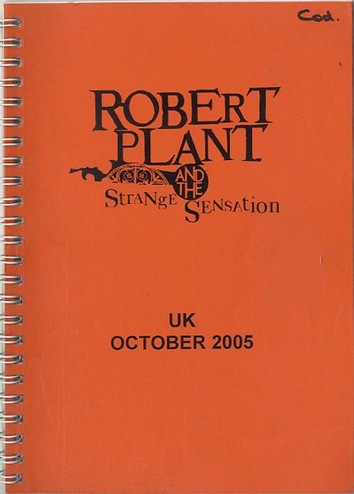 Robert Plant 2005 Tour Itinerary UK PLAITTO612062