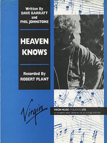 Robert Plant Heaven Knows Uk Sheet Music 325698 80681