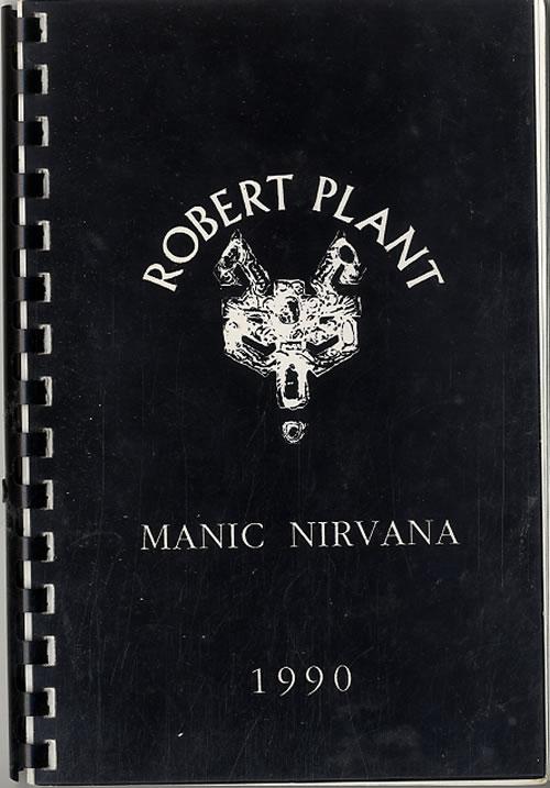 Robert Plant Manic Nirvana - Robert Plant In The U.S.A. 1990 Itinerary UK PLAITMA612073