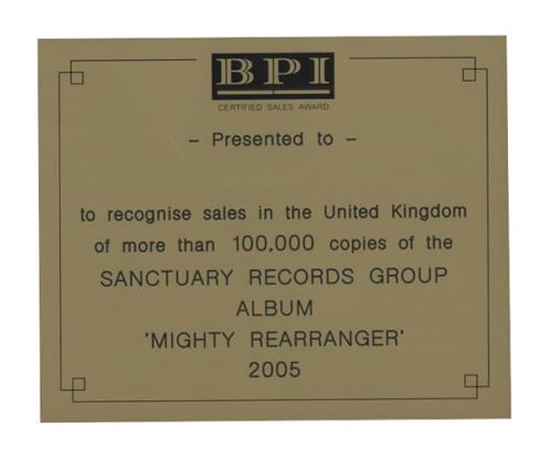 Robert Plant Mighty Rearranger award disc UK PLAAWMI429713