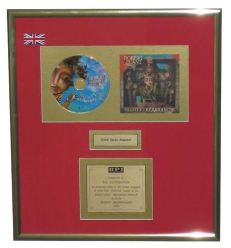 Robert Plant Mighty Rearranger award disc UK PLAAWMI429720