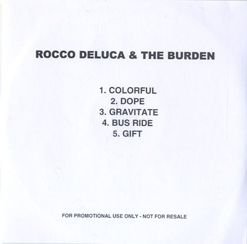 Rocco Deluca And The Burden I Trust You To Kill Me - Album Sampler CD-R acetate UK RZKCRIT538644