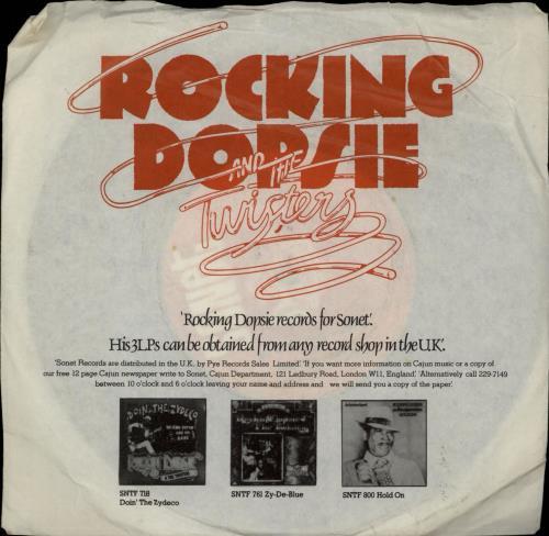 "Rockin' Dopsie & The Twisters My Baby She's Gone 7"" vinyl single (7 inch record) UK RTQ07MY764855"