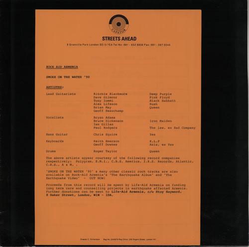 "Rock Aid Armenia Smoke On The Water 12"" vinyl single (12 inch record / Maxi-single) UK R-A12SM87877"