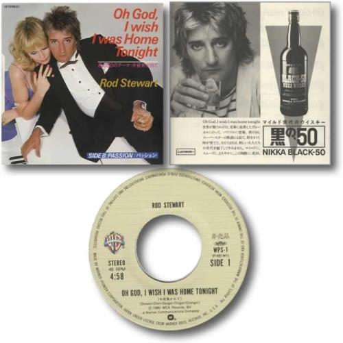 "Rod Stewart Oh God, I Wish I Was Home Tonight 7"" vinyl single (7 inch record) Japanese ROD07OH166005"