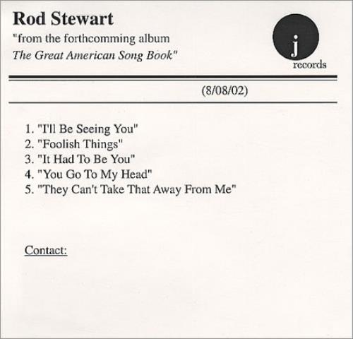 Rod Stewart The Great American Songbook - Sampler CD-R acetate US RODCRTH227283