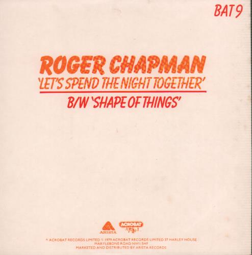 "Roger Chapman Let's Spend The Night Together - Picture sleeve 7"" vinyl single (7 inch record) UK RGC07LE566214"
