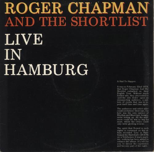Roger Chapman Live In Hamburg vinyl LP album (LP record) UK RGCLPLI728131