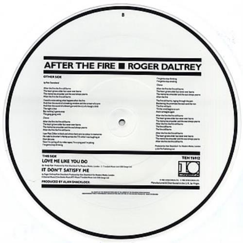 """Roger Daltrey After The Fire 12"""" vinyl picture disc 12inch picture disc record UK RGD2PAF31472"""