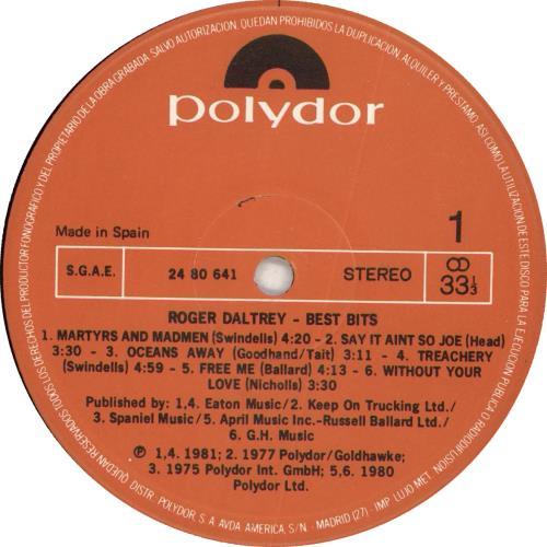 Roger Daltrey Best Bits vinyl LP album (LP record) Spanish RGDLPBE710647