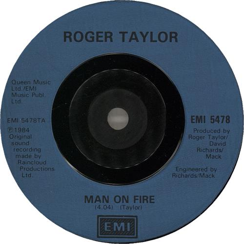 "Roger Taylor Man On Fire - Inj 7"" vinyl single (7 inch record) UK ROG07MA750757"