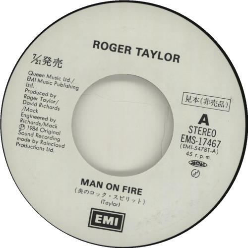 "Roger Taylor Man On Fire 7"" vinyl single (7 inch record) Japanese ROG07MA122378"