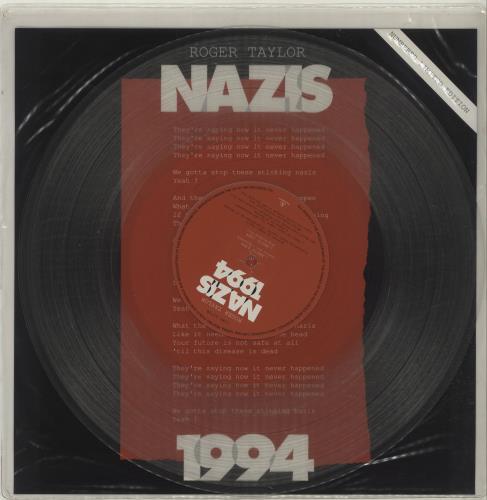 "Roger Taylor Nazis 1994 - Clear Vinyl 12"" vinyl single (12 inch record / Maxi-single) UK ROG12NA28415"