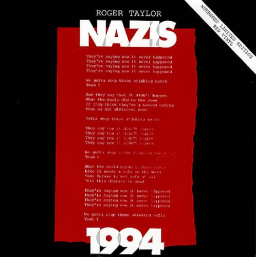 "Roger Taylor Nazis 1994 - Red Vinyl 7"" vinyl single (7 inch record) UK ROG07NA28416"