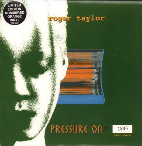 "Roger Taylor Pressure On - Orange Vinyl + Numbered Sleeve 7"" vinyl single (7 inch record) UK ROG07PR122074"