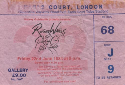 Roger Waters The Pros & Cons Of Hitch Hiking + ticket stub tour programme UK RWATRTH215456