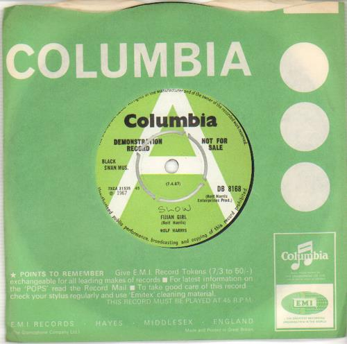 "Rolf Harris Fijian Girl 7"" vinyl single (7 inch record) UK RLF07FI469365"