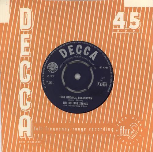 "Rolling Stones 19th Nervous Breakdown - 1st [b] 7"" vinyl single (7 inch record) UK ROL07TH711816"