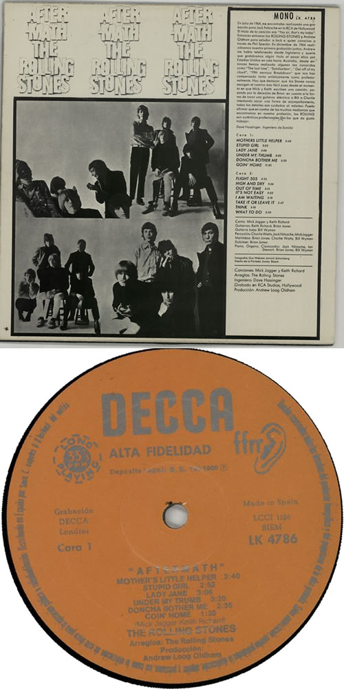 Rolling Stones Aftermath - 1st Spanish vinyl LP album (LP record