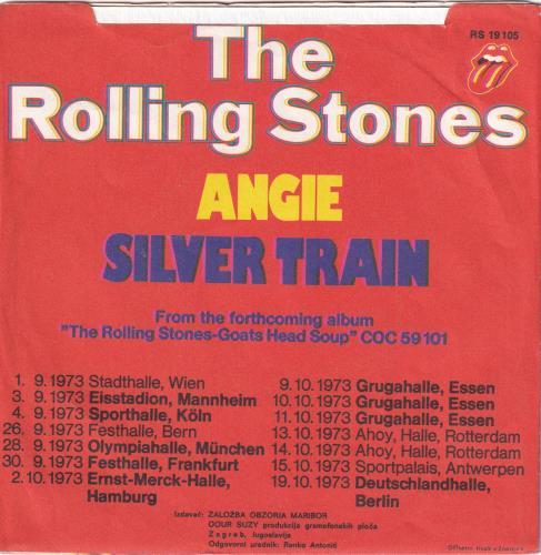 "Rolling Stones Angie + P/S Srebrna 7"" vinyl single (7 inch record) Yugoslavian ROL07AN774317"