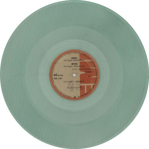 """Rolling Stones Angie - Pale Green Vinyl - VG 12"""" vinyl single (12 inch record / Maxi-single) Colombian ROL12AN288532"""