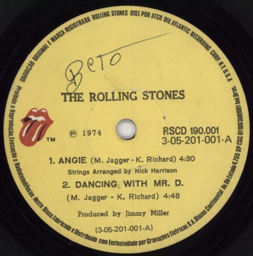 """Rolling Stones Angie EP 7"""" vinyl single (7 inch record) Brazilian ROL07AN773969"""