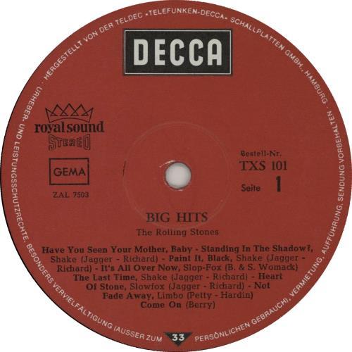 Rolling Stones Big Hits (High Tide And Green Grass) vinyl LP album (LP record) German ROLLPBI505220