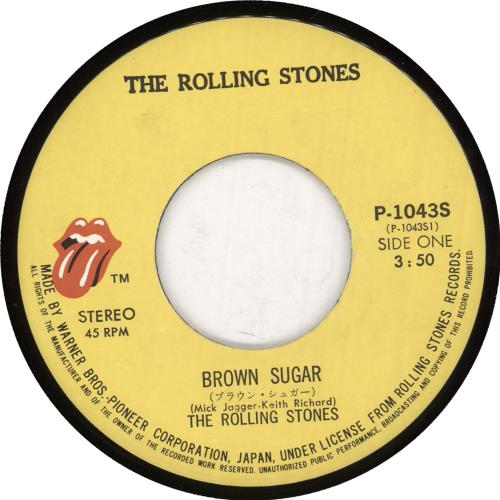 "Rolling Stones Brown Sugar - 2nd Sleeve 7"" vinyl single (7 inch record) Japanese ROL07BR170975"