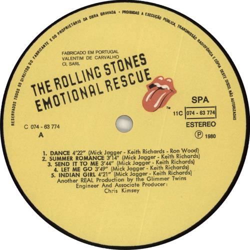 Rolling Stones Emotional Rescue vinyl LP album (LP record) Portugese ROLLPEM708248