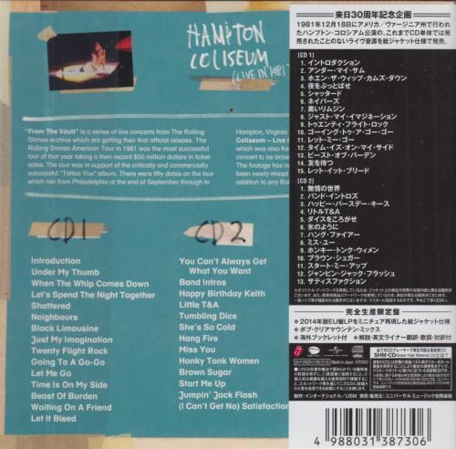 Rolling Stones From The Vault: Hampton Coliseum - Live 1981 (Bob Clearmountain Mix) SHM CD Japanese ROLHMFR752841