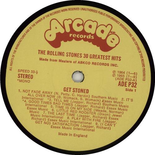 Rolling Stones Get Stoned - 30 Greatest Hits 2-LP vinyl record set (Double Album) UK ROL2LGE93573
